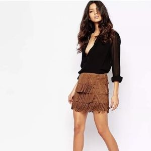 fc21c212f6 Zara Skirts   Brown Suede Pig Leather Fringe Mini Skirt   Poshmark